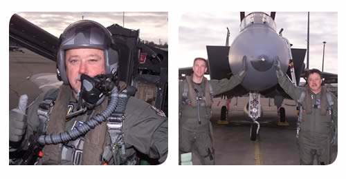 Randy Wise in flight suit boarding an F-15 fighter jet