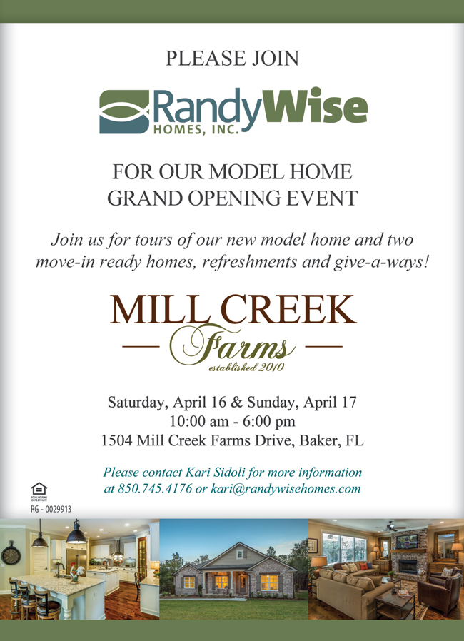 Mill Creek Farms Model Grand Opening flyer