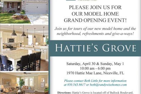 Hattie's Grove Model Home Grand Opening Poster