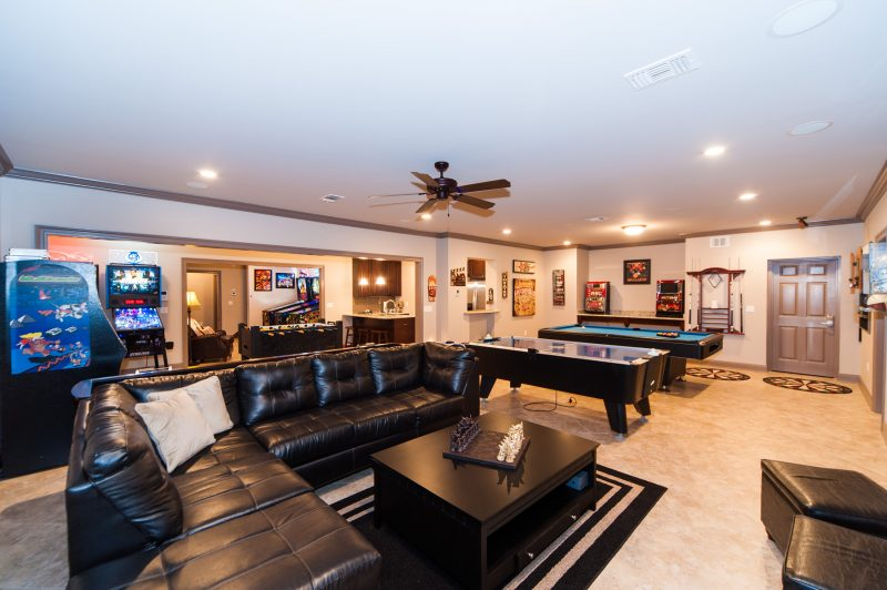 downstairs living area with game room