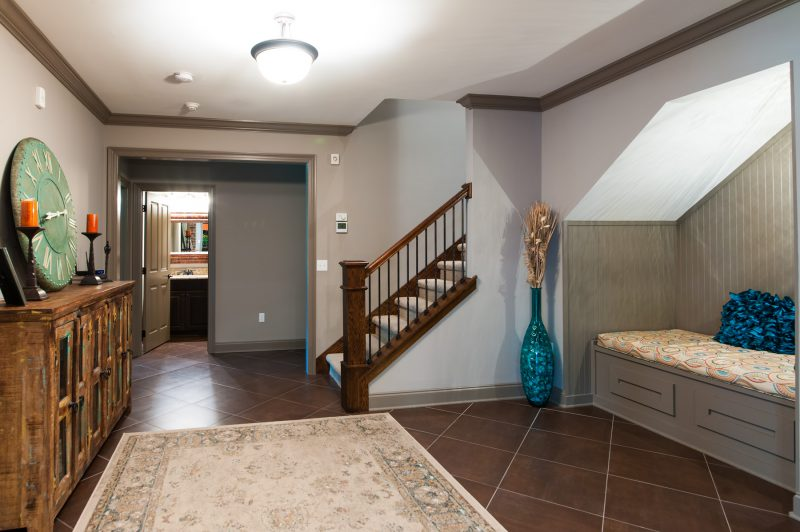 basement stairs and reading nook