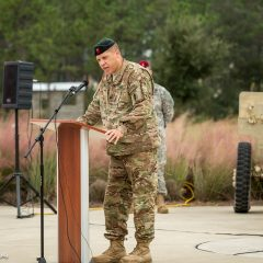Soldier addressing the crowd at the ceremony