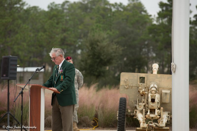 Member of the Special Forces Association Chapter 7 speaking at the ceremony