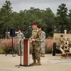 Soldier speaking at the memorial wall ground breaking ceremony