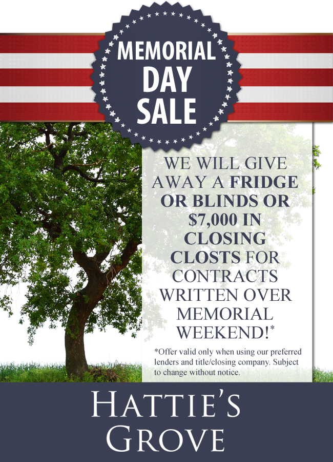 Hattie's Grove Memorial Day Sale Poster
