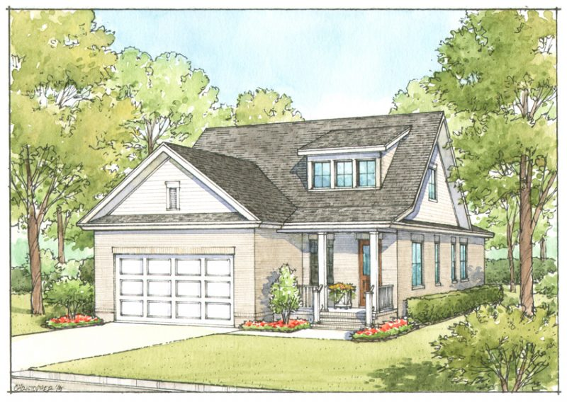 Artist rendering of Cottage B Option 2 in Hattie's Grove