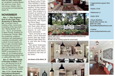 "Scan of the Pensacola News Journal featuring the Mill Creek Farms model house as ""Home of the Week"""