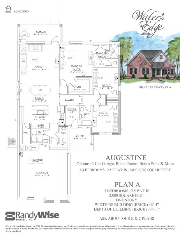 Augustine Floorplan in Water's Edge