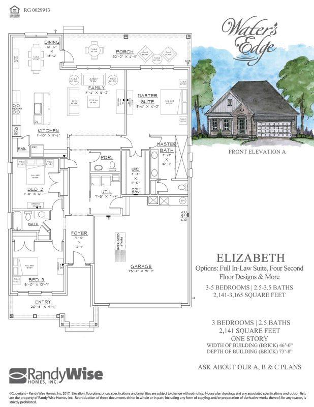 Elizabeth Floorplan in Water's Edge