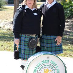 Members of the Emerald Cost Pipes and Drums organization at the Nelson Welcome Home Celebration
