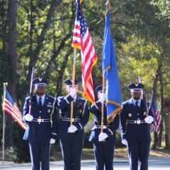 Air Force color guard marching down the street