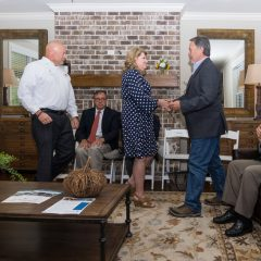 Randy Wise meets with Kathy and Brian Haugen