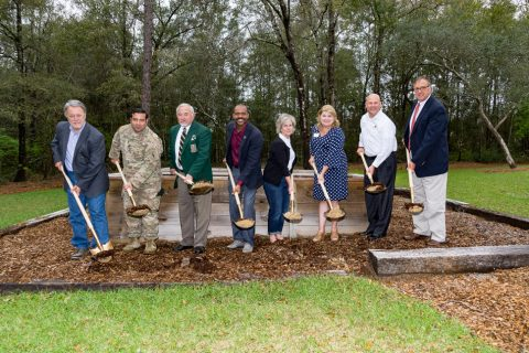 Randy and Debbie Wise along with members of The Special Forces Association Chapter 7, the Taylor Haugen Foundation and United Bank, breaking ground on a new Community Sprit Home site.