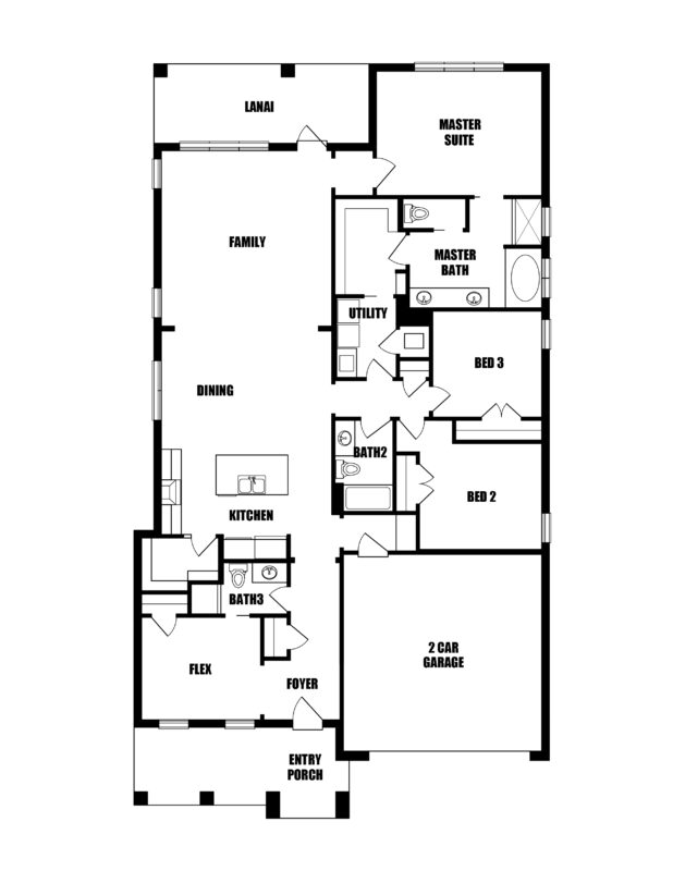 New Homes in Niceville, Florida. The Cobia E Floorplan in Osprey Ridge.