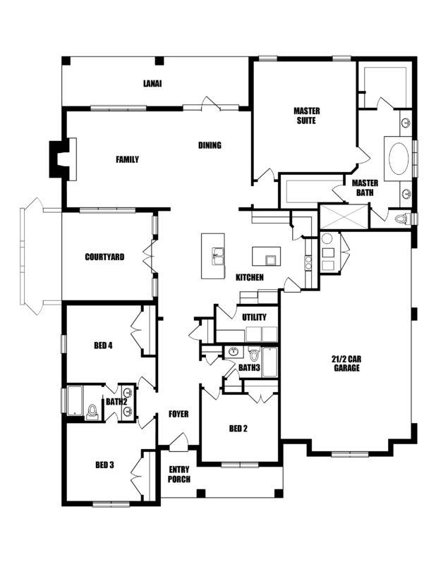 New Homes in Baker, FL. The Del Mar II Floorplan.