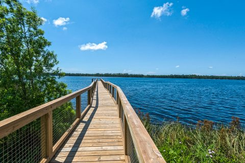 Long wooden pier at Water's Edge