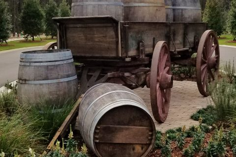 Wooden barrels at the Vineyards entrance of Hammock Bay