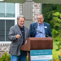 Randy Wise and Robert Jones speaking at the 2019 Community Spirit Home Event