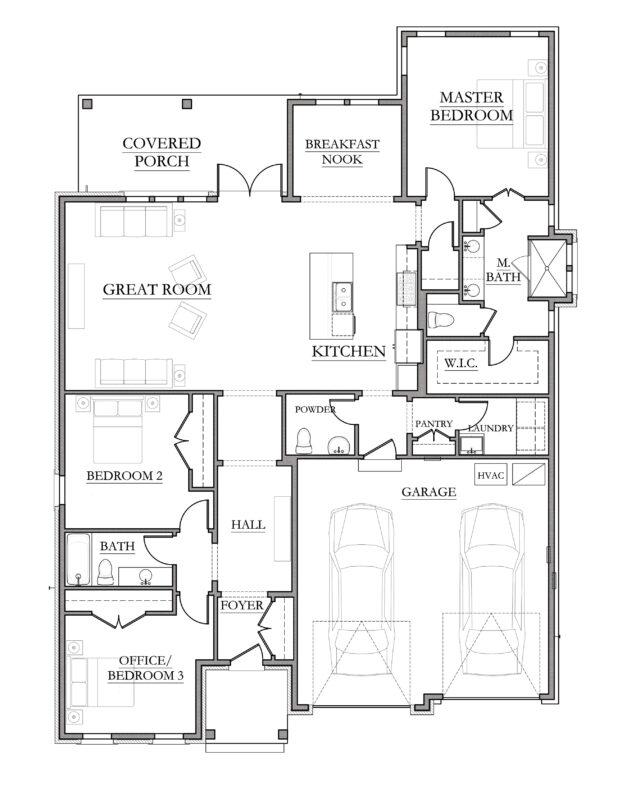 New Homes in Niceville, Florida. Kate Floorplan in Fate's Landing.