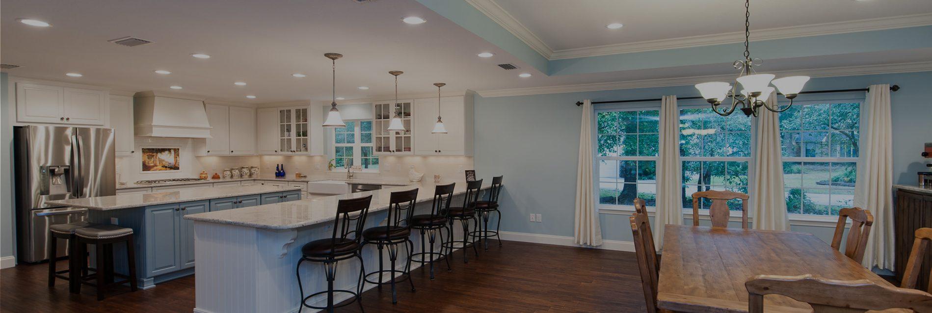 Wide shot of custom home interior living area