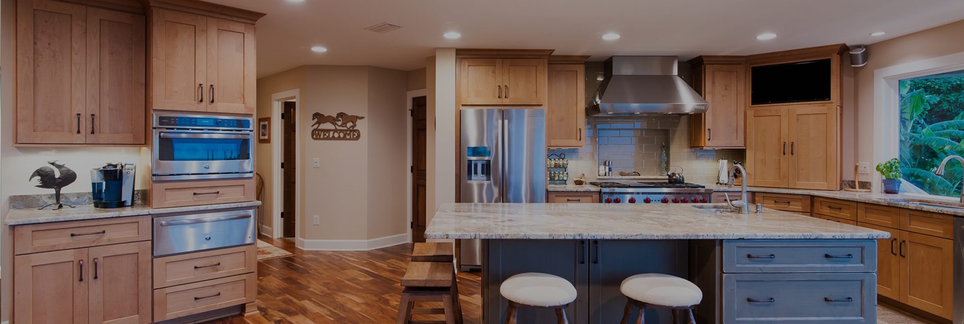 wide shot of home interior kitchen and bar