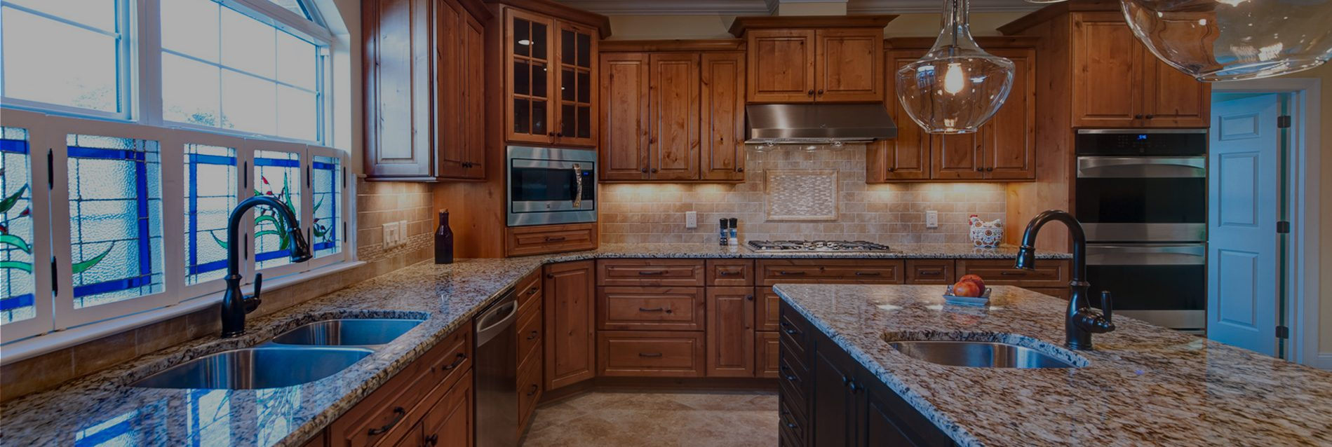 Home interior kitchen sink and countertops