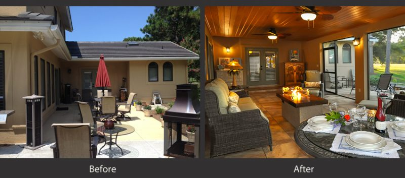 Before and After comparison of home remodeling