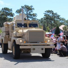 Army vehicle at the SSG Aaron Hale Welcome Home Celebration