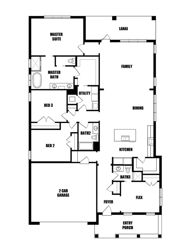 New Homes in Niceville, Florida. The Cobia III Floorplan in Osprey Ridge.