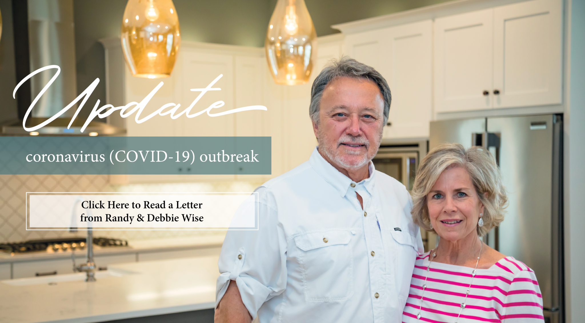 Randy and Debbie Wise standing in a kitchen providing an update about the COVID-19 outbreak