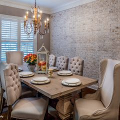 Dining Room with Brick Accent Wall