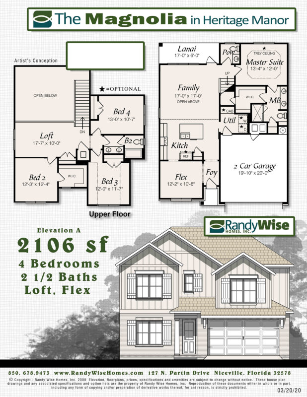 New Homes in Crestview, Florida. The Magnolia Floorplan.