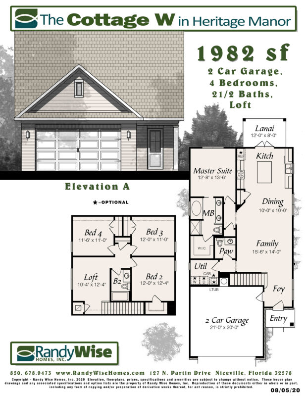 New Homes in Crestview, Florida. Cottage W Floorplan.