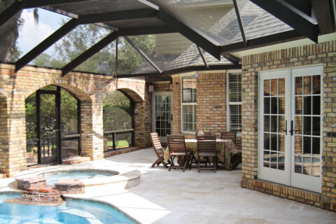 Brick courtyard addtion